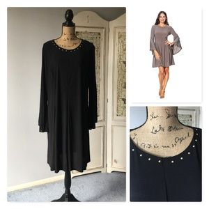 Emma & Michele Bell Sleeve Stud Trim Dress NWT